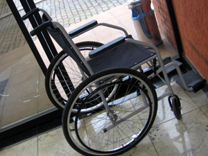 This is a picture of an empty wheelchair