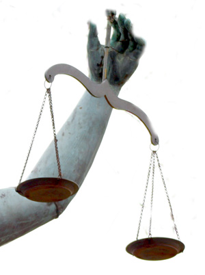 This is a picture of justice holding balanced scales.