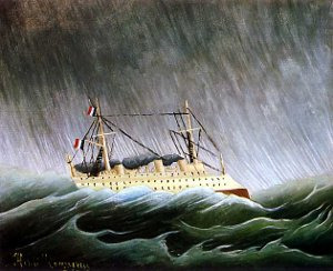 This is a picture of Henri Rousseau's painting The Boat in the Storm