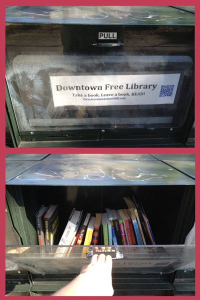 This is a picture of a small library housed in a newspaper stand on Franklin Street